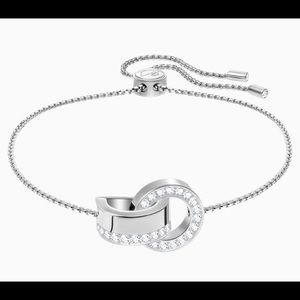 Swarovski Hollow  Bracelet, White, RHODIUM PLATING